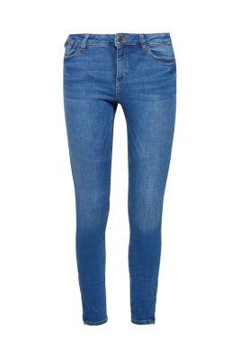 Schmale Stretch-Jeans mit Zipper-Details bei Esprit