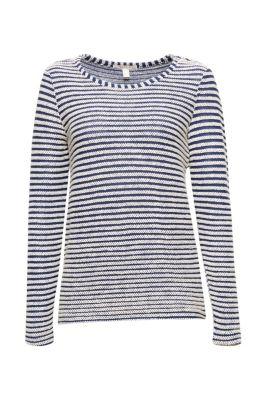 Sweatshirt mit Struktur-Ringeln, 100% Baumwolle bei Esprit
