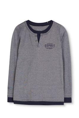 Piqué Henley-Shirt aus Baumwoll-Stretch bei Esprit