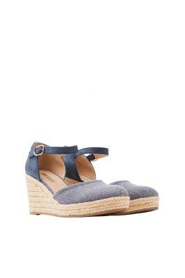 Esprit Damen Keil-Espadrilles mit Bast-Sohle und Material-Mix blau | 4060468434799