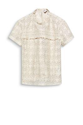 Esprit Kanten blouse met ruche katoenmix Cream Beige for Women