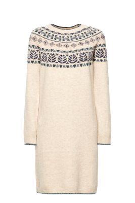 Esprit Jacquard jurk met wol Off