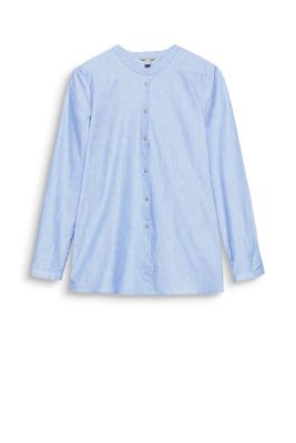 Esprit Katoenen overhemdblouse staande kraag Light Blue for Women