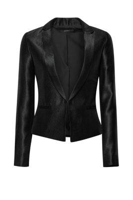 Esprit Glanzende korte blazer met structuur Black for Women