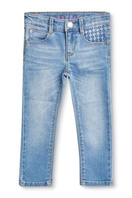 Esprit Mädchen,Kinder Bestickte 7/8-Stretch-Jeans blau | 3663760764314