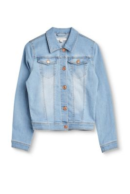 Esprit Mädchen,Kinder Leichte Jeans-Jacke mit Stretchkomfort blau,grau,weiß | 3663760770605
