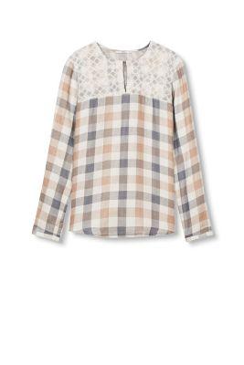 Esprit Double face blouse met mesh Off White for Women
