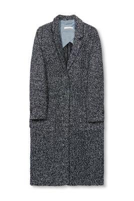 Esprit Gemêleerde bouclé mantel van wolmix Navy for Women
