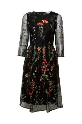 Feminines Mesh-Kleid mit Blumen-Stickerei