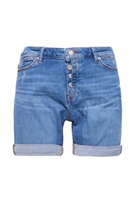 Short en jean stretch au look usé à patte de boutonnage