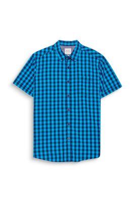 Chemise à carreaux et manches courtes, en coton