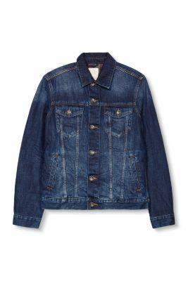 Veste en jean, intérieur gratté à carreaux