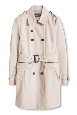 Trench-coat satiné à boutons