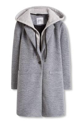 Manteau laine mélangée à capuche