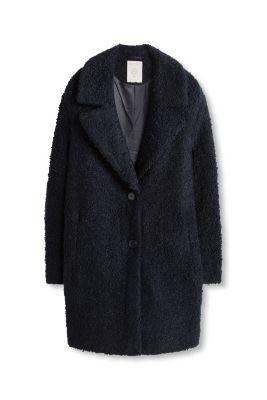 Manteau en maille bouclette à grand col