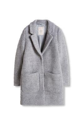 Manteau doublé à effet grosse maille