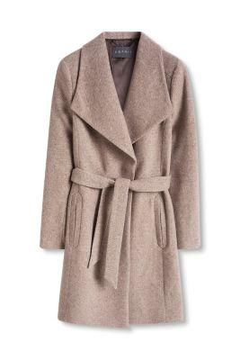 Manteau bicolore laine mélangée grand col