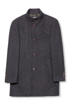 Manteau à chevrons en laine mélangée