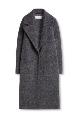 Manteau long en tweed, laine et soie