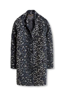 Manteau duveteux à motif léopard