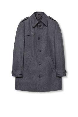 Manteau en feutre ouatiné, laine mélangée