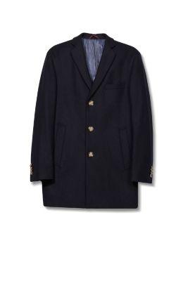 Manteau court, laine mélangée, style blazer
