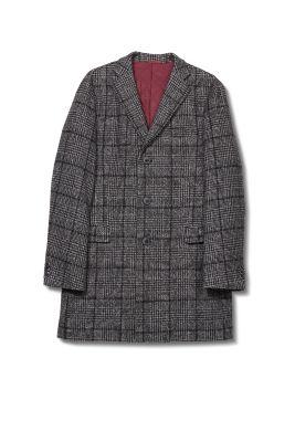 Manteau à carreaux, laine mélangée