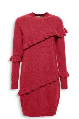 Robe en fine maille à ruchés décoratifs