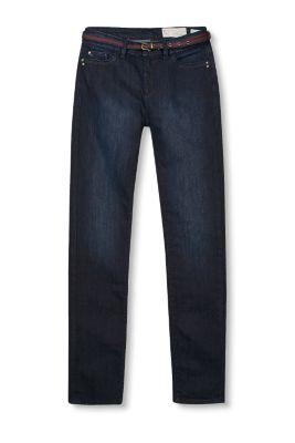 Jean slim foncé à ceinture textile