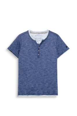 T-shirt col tunisien jersey de coton mélangé