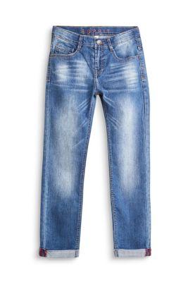 Jean stretch à taille ajustable et revers