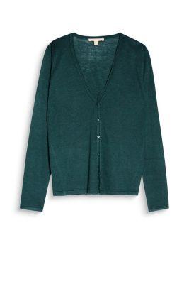 esprit basic cardigan aus seidigem feinstrick dark teal green g nstig schnell einkaufen. Black Bedroom Furniture Sets. Home Design Ideas