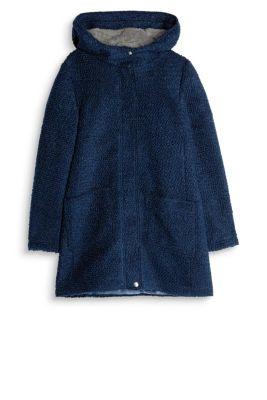 Esprit melierter boucle mantel aus woll mix